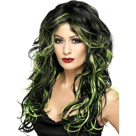 Gothic Bride Black and Green Wig - Corpse Bride Halloween Wig