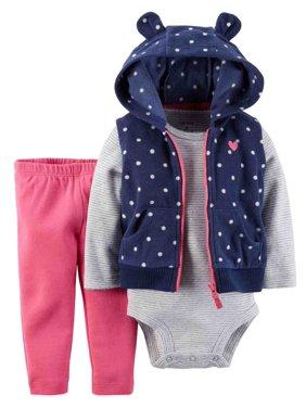 Carters Infant Girls Blue Polka Dot 3 Piece Outfit Bodysuit Leggings Vest Set