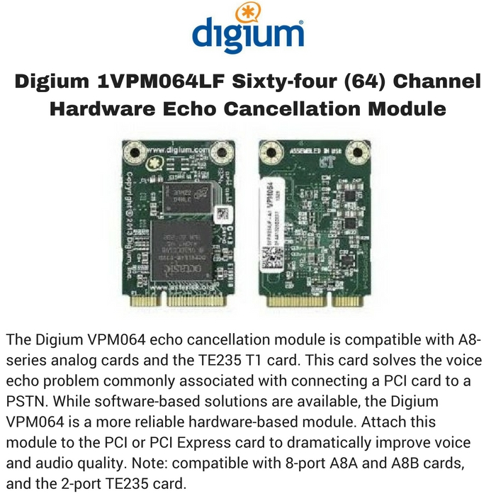 Digium 1VPM064LF Sixty-four (64) Channel Hardware Echo Cancellation Module