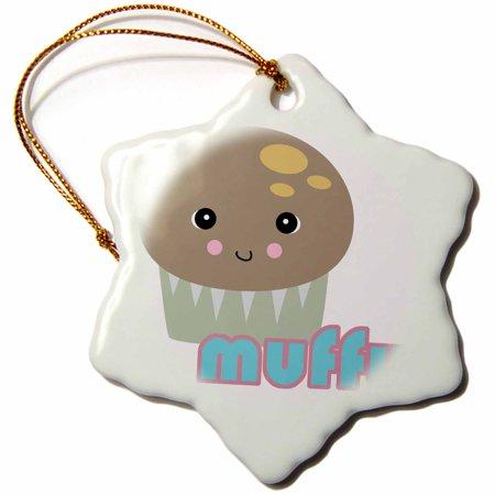 3dRose Cute Kawaii Muffy Muffin, Snowflake Ornament, Porcelain, 3-inch