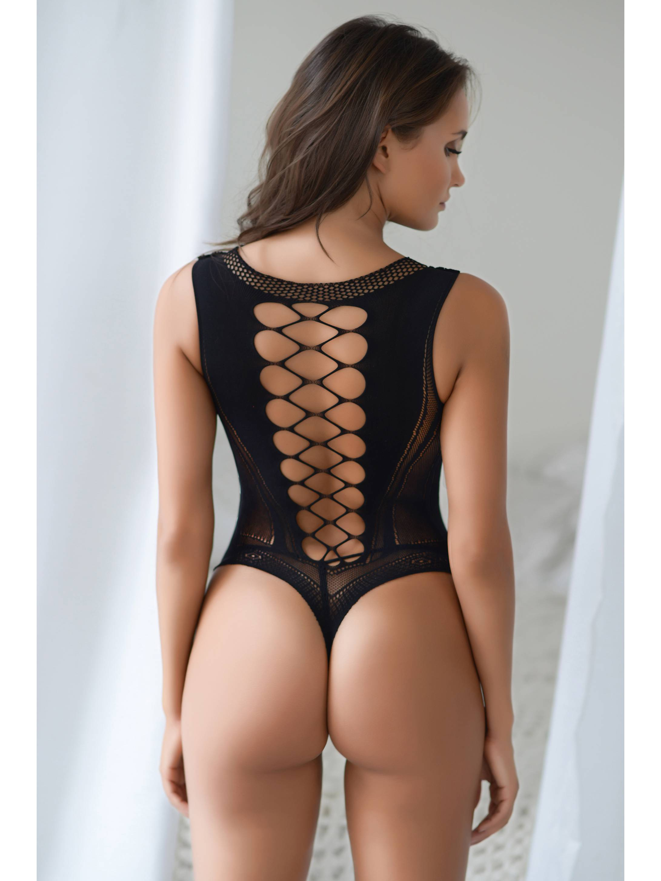 7b90f66157 Killer Legs Plus Size Fishnet Bodysuit Sheer Bodice Grid Cutout Thong Back  Teddy Romper Body Stocking 818JT179Q Queen - Walmart.com