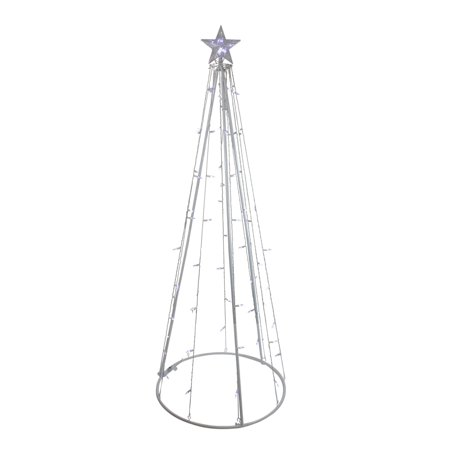 6' Pure White LED Lighted Outdoor Christmas Cone Tree Yard Art Decoration - Halloween Outdoor Tree Decorations