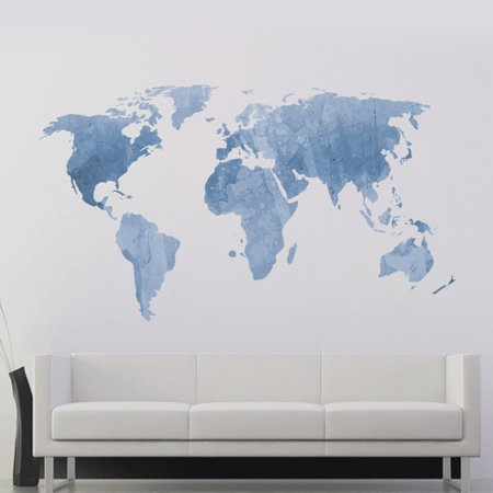 Decalmile blue world map wall stickers removable wall decals murals decalmile blue world map wall stickers removable wall decals murals for living room classroom office gumiabroncs Choice Image