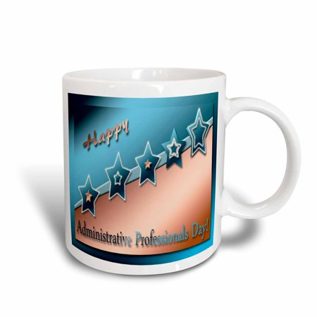 3dRose Administrative Professionals Day, Copper and Blue, Ceramic Mug, 15-ounce