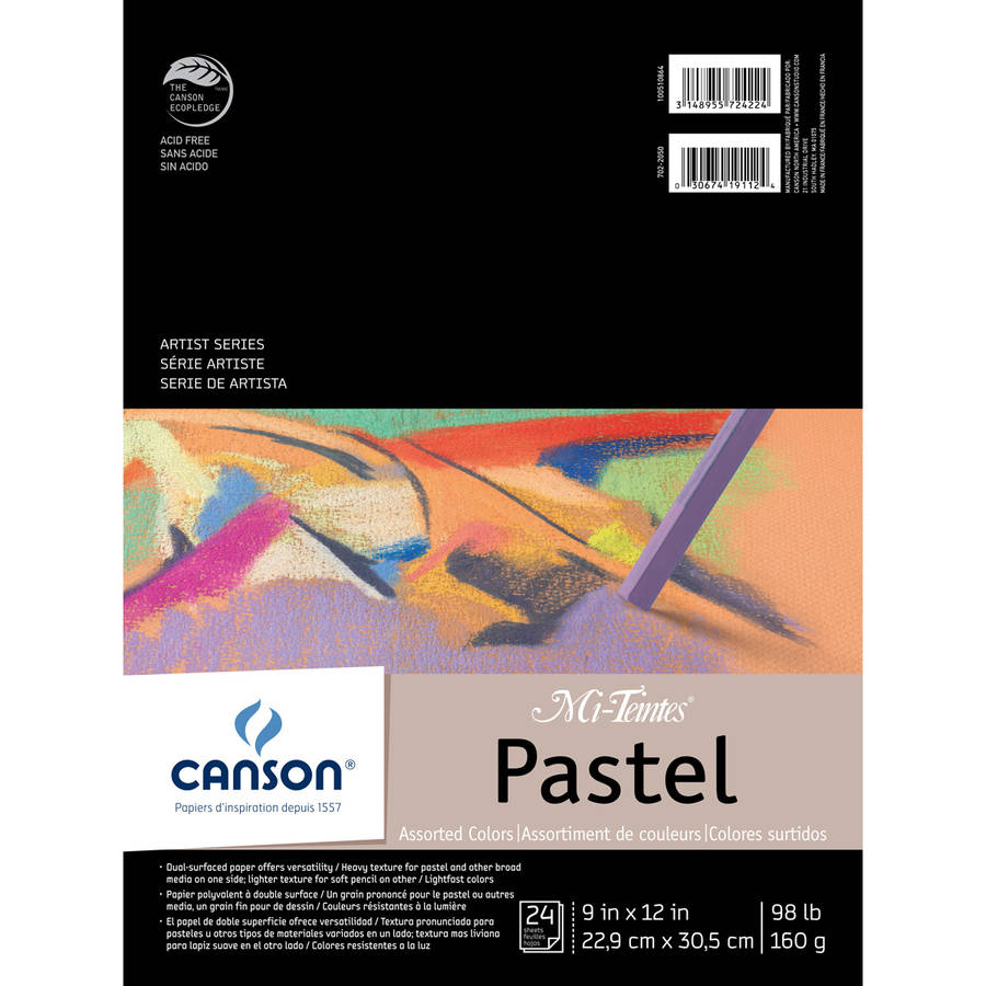 """Canson Mi-Teintes Pastels Paper Pad, 9"""" x 12"""", Assorted Colors, 24 Sheets"""