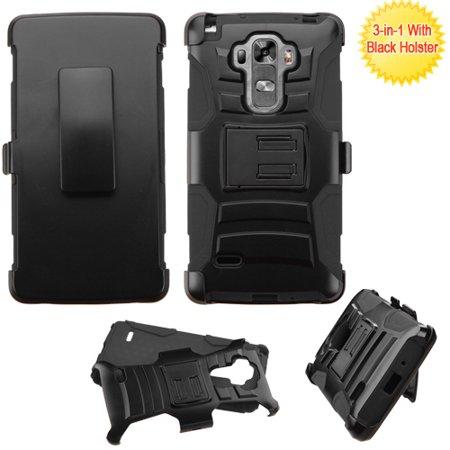 For LG G Vista 2 Case - Hybrid Phone Cover Side Kickstand With Holster Clip - Black+Black (Phone Cases Lg Vista Cowboy)