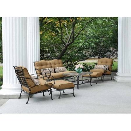 Hanover Outdoor Oceana 6-Piece Patio Set with Stone-Top Coffee Table