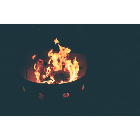 Peel N Stick Poster Of Flames Fire Pit Campfire Burning Fireplace