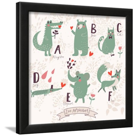 Cute Zoo Alphabet in Vector. A, B, C, D, E, F Letters. Funny Animals in Love. Alligator, Bear, Cat, Framed Print Wall Art By smilewithjul