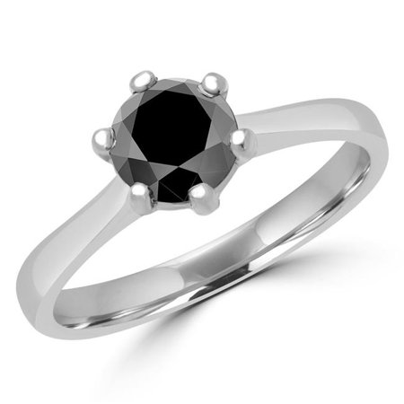 MD170226-4 0.8 CT Round Black Diamond 6 Prong Solitaire Engagement Ring in 14K White Gold - Size 4