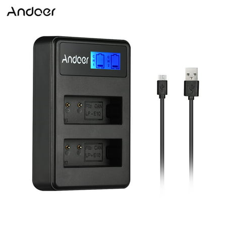 Andoer LCD2-LPE10 Compact Dual Channel LCD Camera Battery USB Input LCD Display for Canon LP-E10 Camera Battery for Canon Rebel T3 T5 T6 Kiss X50 Kiss X70 1100D 1200D 1300D Digital Camera - image 7 of 7
