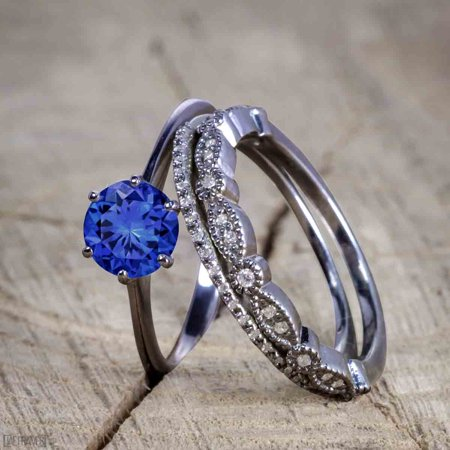 Bestselling 1.50 Carat Wedding Ring Set with Sapphire and Diamond for Women in Black Gold