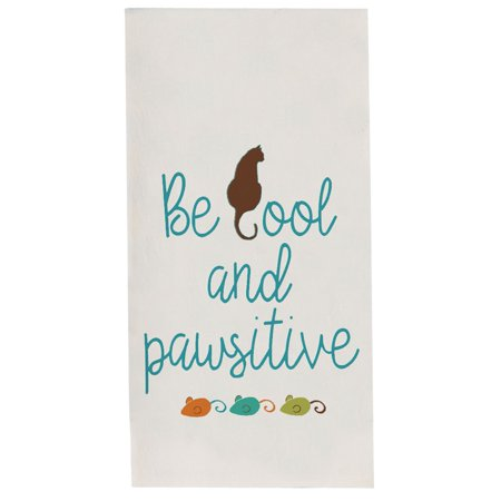Kay Dee Cats Life Be Cool and Pawsitive Flour Sack Kitchen Dish Towel (Cool Kitchen)