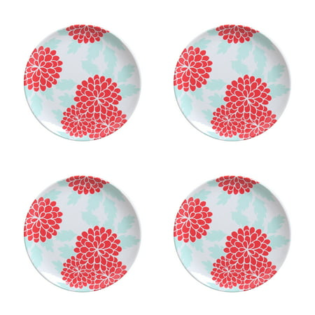 Better Homes & Gardens Outdoor Melamine Teal Floral Salad Plates, Set of 4 ()