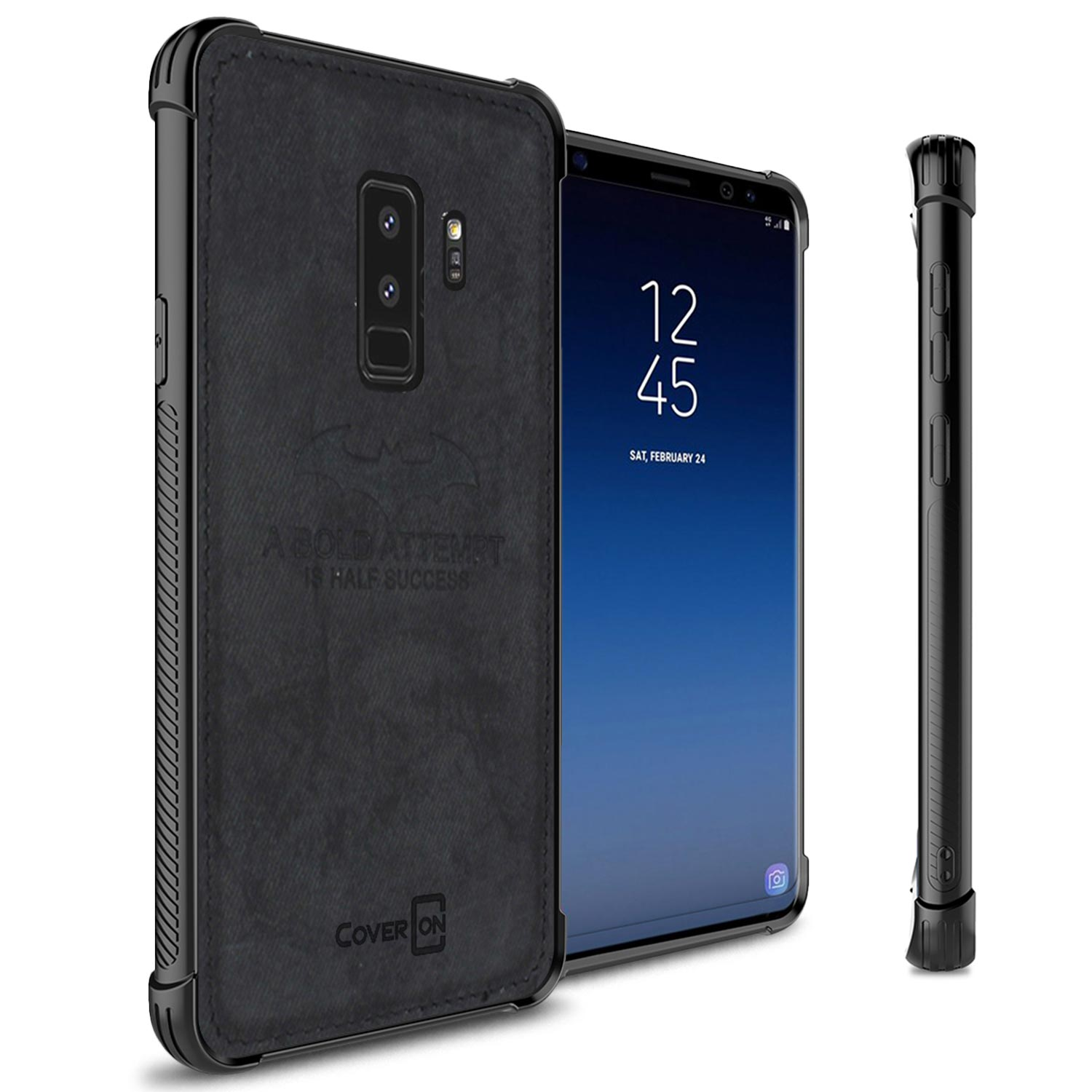 CoverON Samsung Galaxy S9 Plus Case, Woven Series Protective Hard Phone Cover with Fabric Back