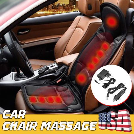 Heated Vibrating Seat Cushion - Portable Chair Pad Massager with Soothing Heat for Back Thighs & Body Pain Relief - Home Office or Car