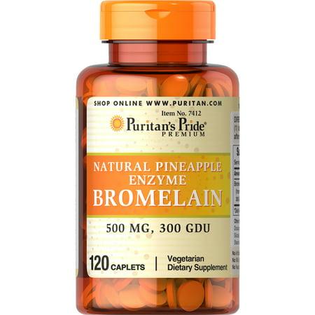 Bromelain Natural (Puritan's Pride Natural Pineapple Enzyme Bromelain Caplets, 120 Count )