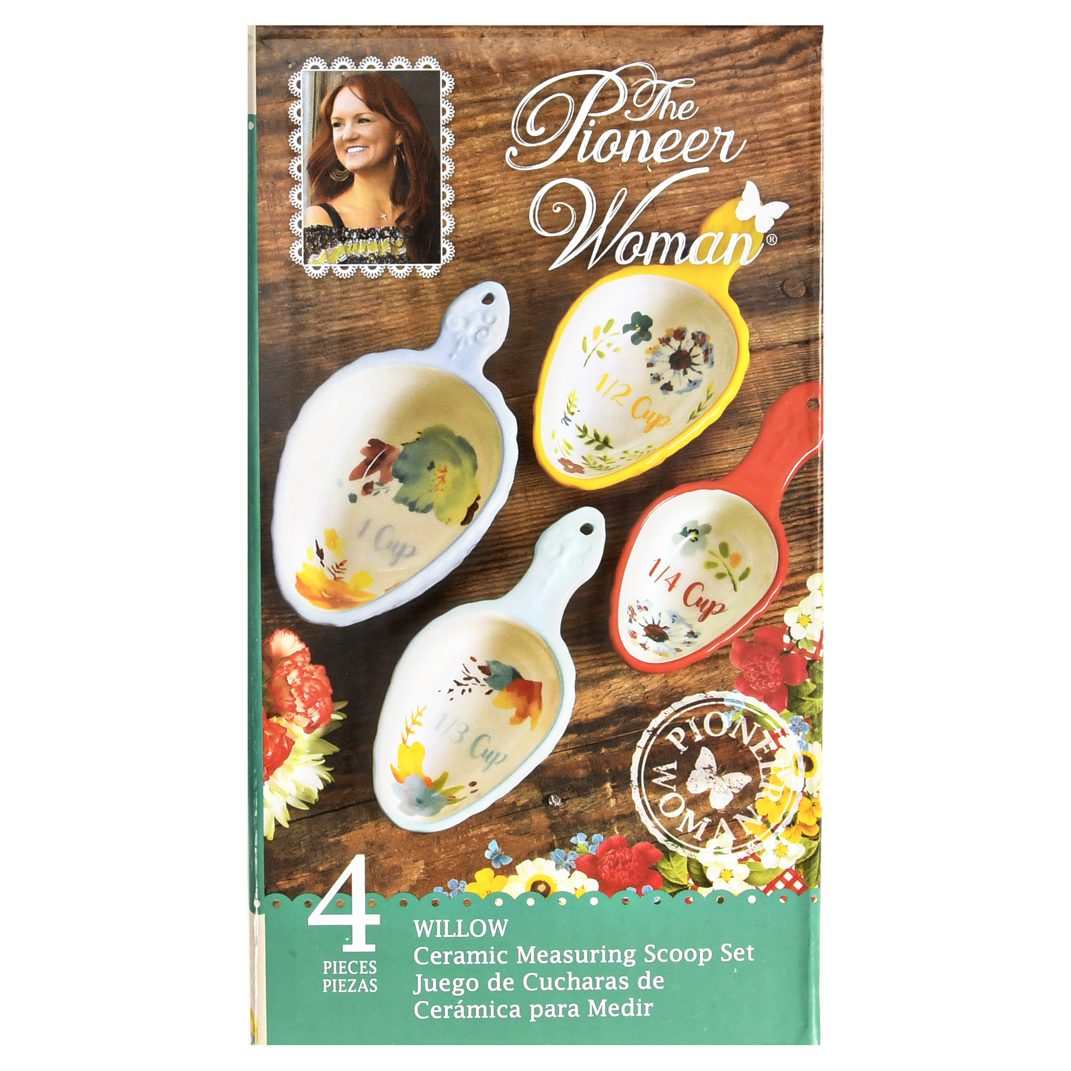 The Pioneer Woman Willow Ceramic Measuring Scoop Set, 4-Piece by Gibson Overseas
