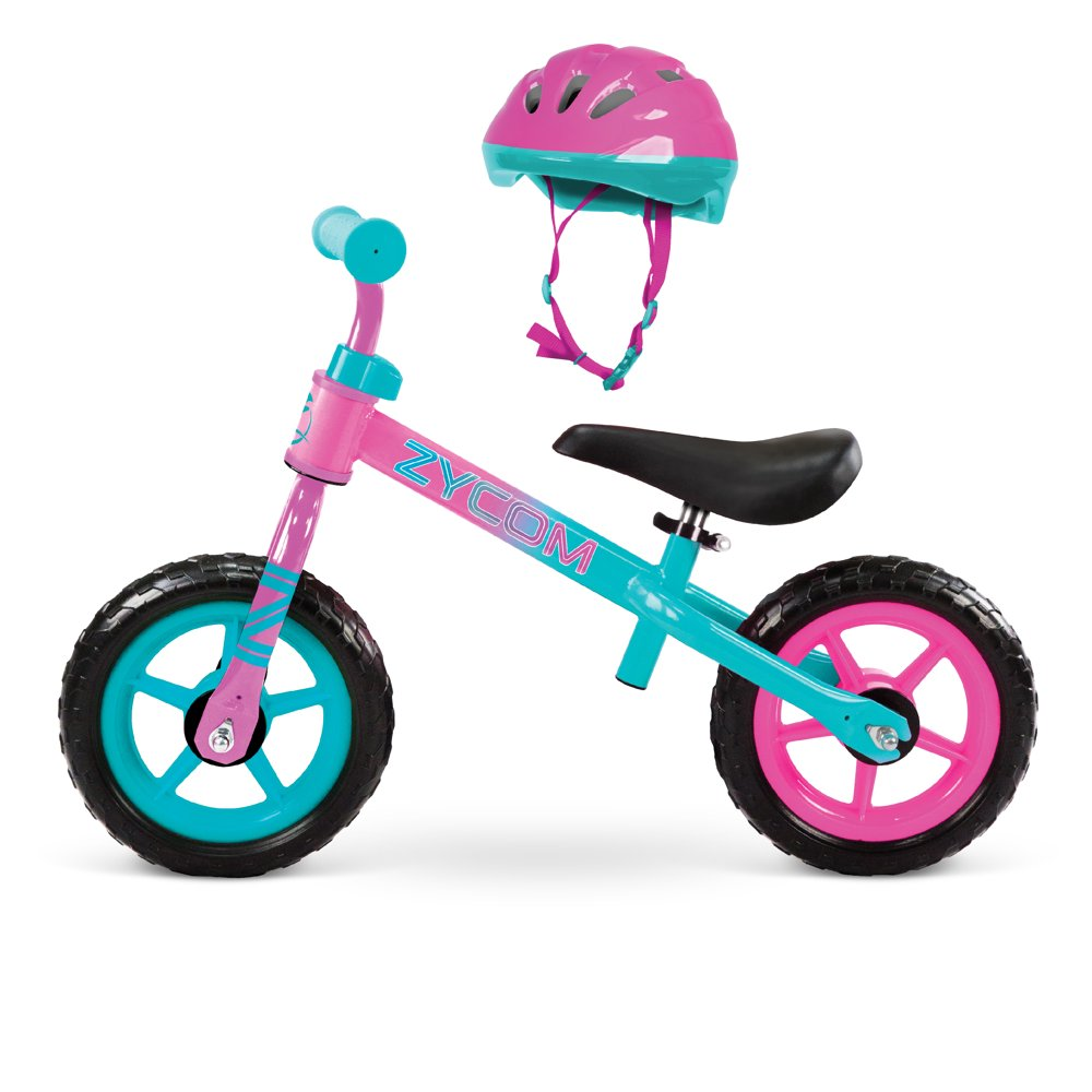 """Zycom - 10"""" My 1st Balance Bike With Helmet Combo, Ages 18-36 Months - Teal/Pink"""