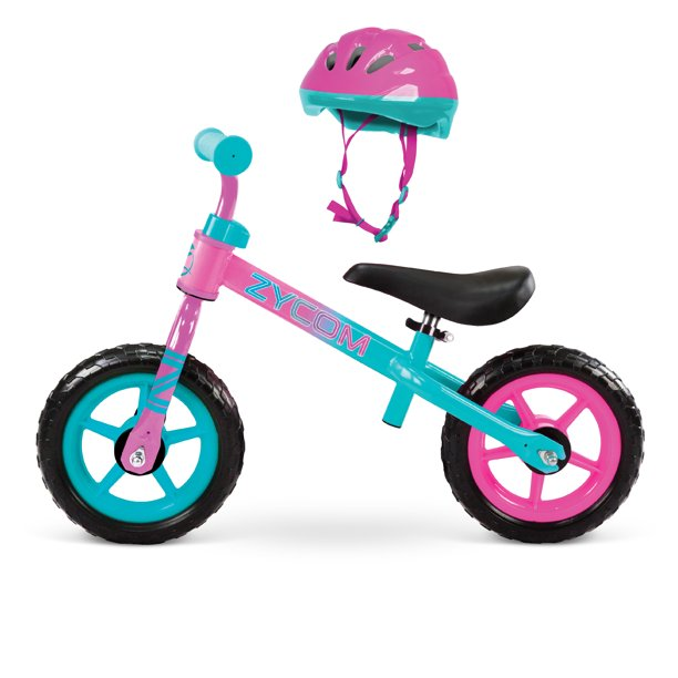 "Zycom - 10"" My 1st Balance Bike With Helmet Combo, Ages 18-36 Months - Teal/Pink"