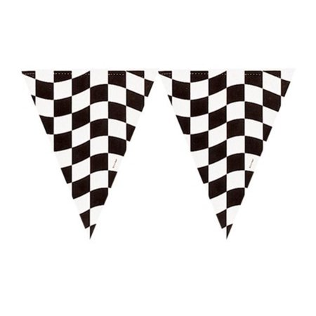 Club Pack of 12 Black and White Checkered Hanging Party Banner Flag Decorations 12'