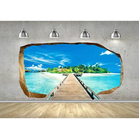 Startonight 3D Mural Wall Art Photo Decor Bridge for Island ...