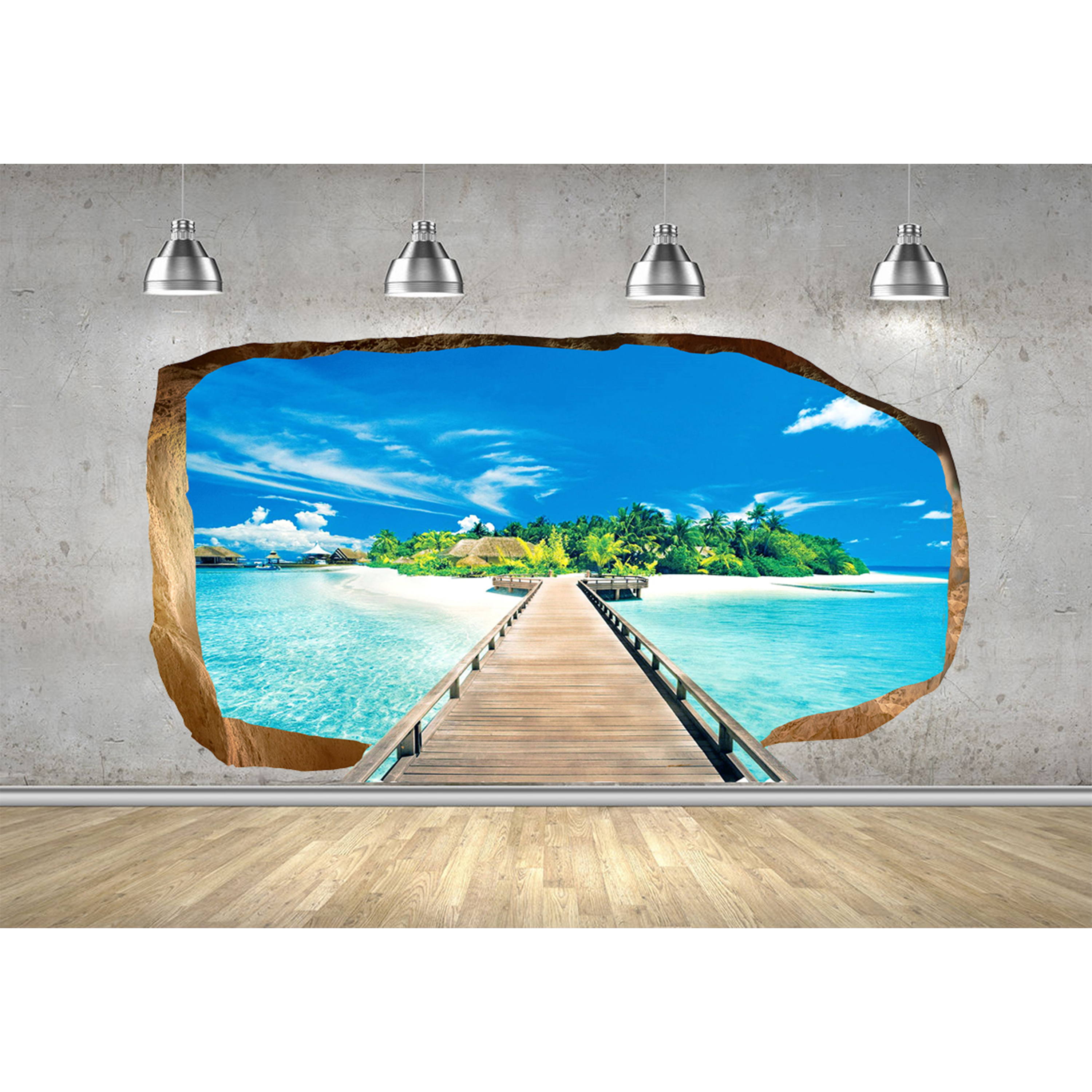 Startonight 3D Mural Wall Art Photo Decor Bridge for Island Amazing Dual View Surprise Wall Mural Wallpaper for Bedroom Beach Wall Paper Gift Large 47.24 '' By 86.61 ''
