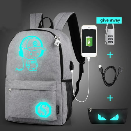 Outdoor City Walking Backpack Student Luminous Animation Sport Bags For Teenager USB Charge Computer Anti-theft Laptop