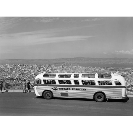 1950s Sightseeing Tour Bus Parked at Twin Peaks for View of San Francisco and Bay Area California Print Wall