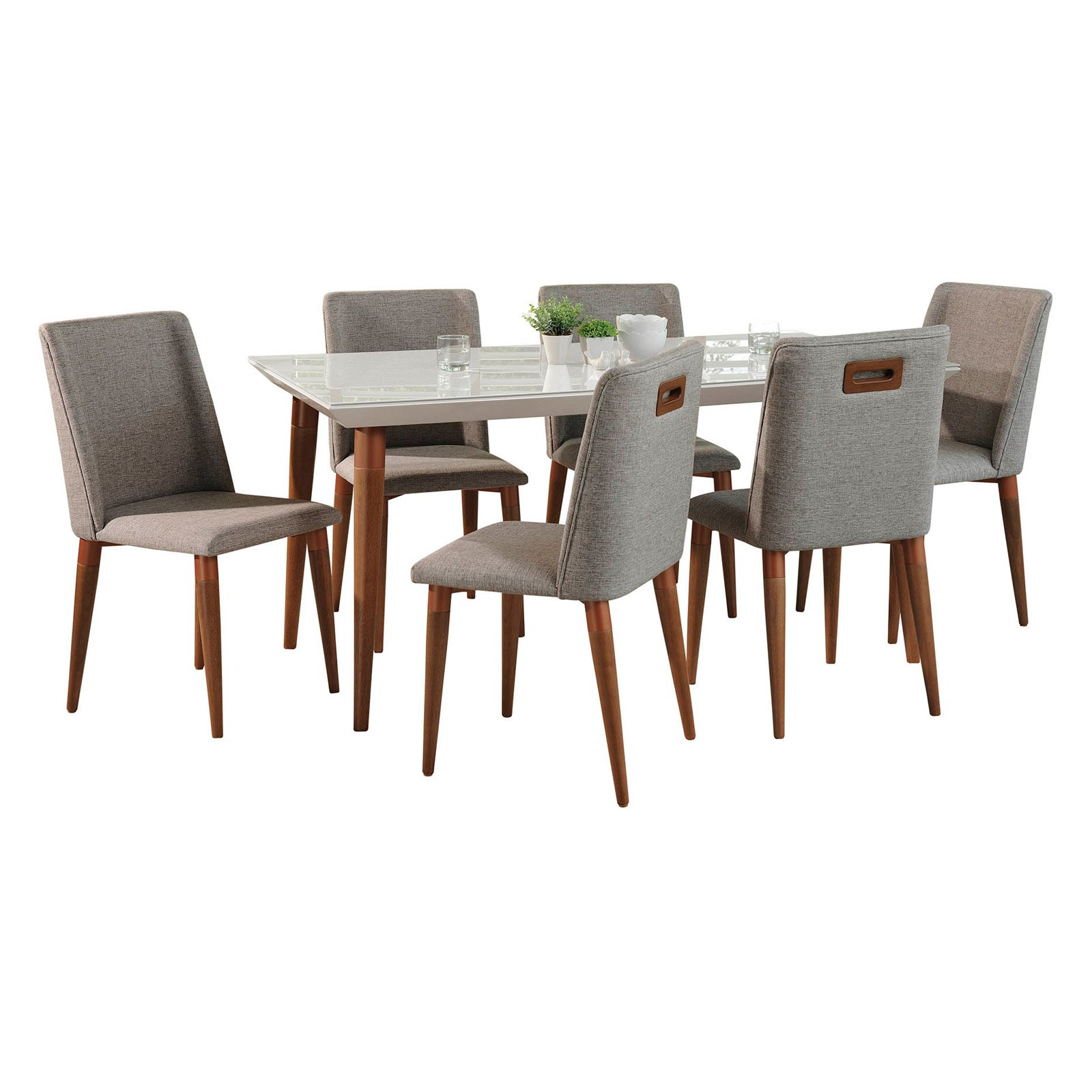 Manhattan Comfort Utopia and Tampa 7 Piece Dining Table Set