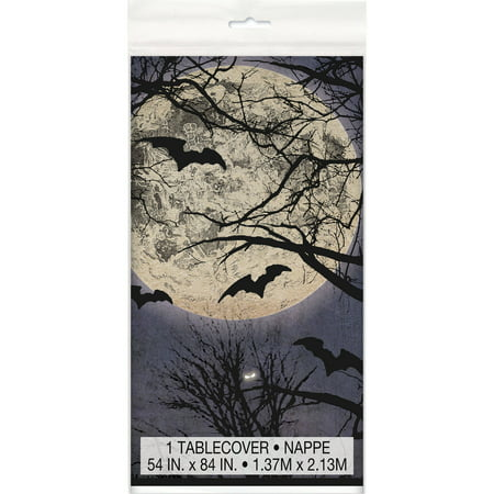 Spooky Night Halloween Plastic Tablecloth, 84 x 54 in, 1ct - Spooky Games To Play On Halloween