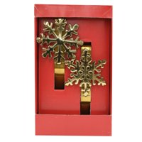 Holiday Time Gold Snowflake Christmas Stocking Holders (Set of 2), 6.25 in