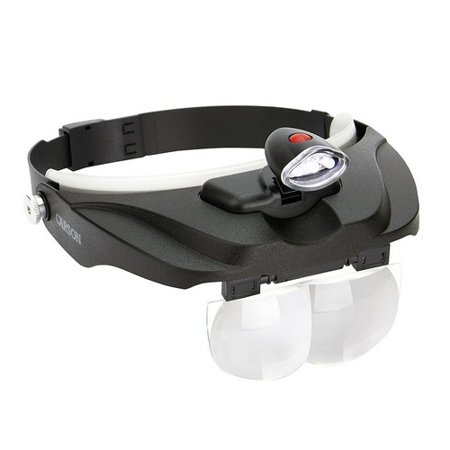 Carson Optical Pro Series MagniVisor Deluxe Head-Worn LED Lighted Magnifier with 4 Different Lenses (1.5X, 2X, 2.5X, 3X) (CP-60), Black