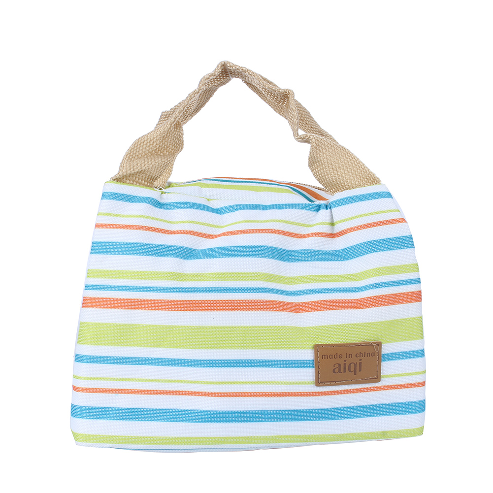 Hilitand Striped Lunch Bag PRO Insulated Thermal Cooler Lunch Box Carry Tote Picnic Case Storage Bag Green