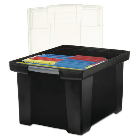 - Storex Plastic File Tote Storage Box, Letter/Legal, Snap-On Lid, Black
