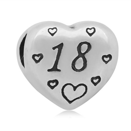 Stainless Heart Shaped Number 18 Charm Bead Fits Pandora Style Charm Bracelets