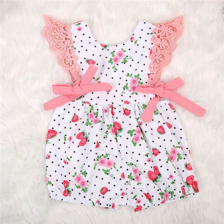 Cute Kids Baby Girls Strawberry Polka Dot White and Pink O-Neck Sleeveless Romper Outfits Clothes Sunsuit