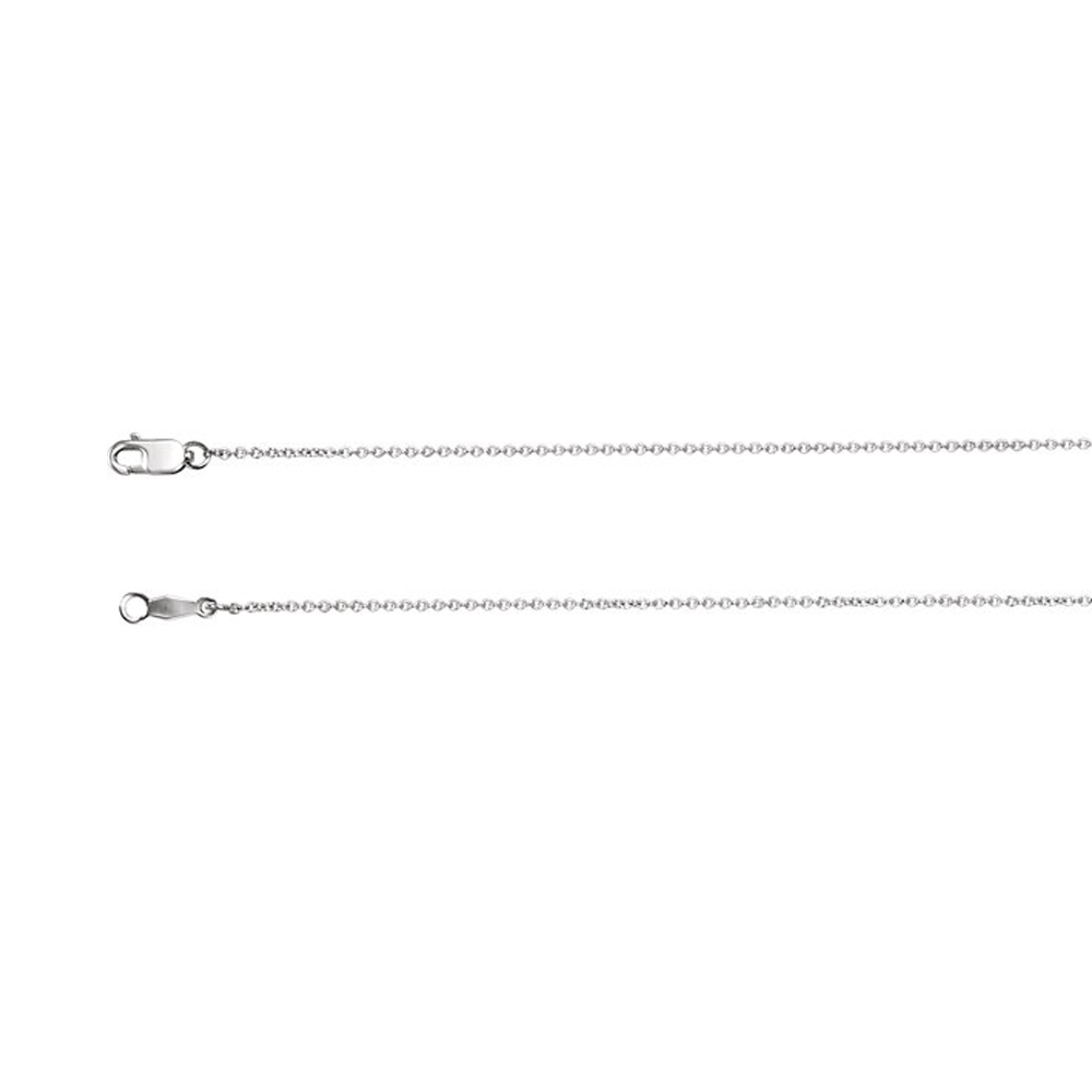 1mm Platinum Solid Cable Chain Necklace by Black Bow Jewelry Company
