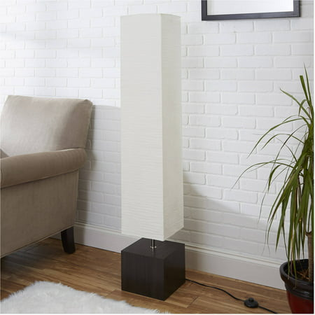 Visual Comfort White Floor Lamp (Mainstays White Rice Paper Floor Lamp with Dark Wood)
