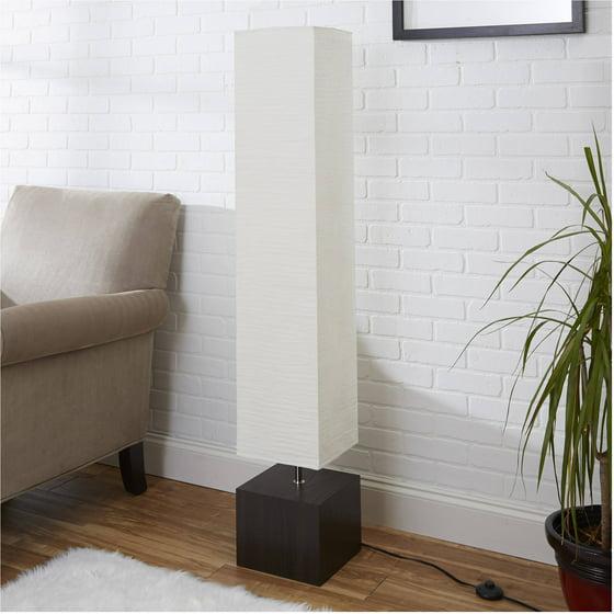 Mainstays White Rice Paper Floor Lamp With Dark Wood Base Walmart Com