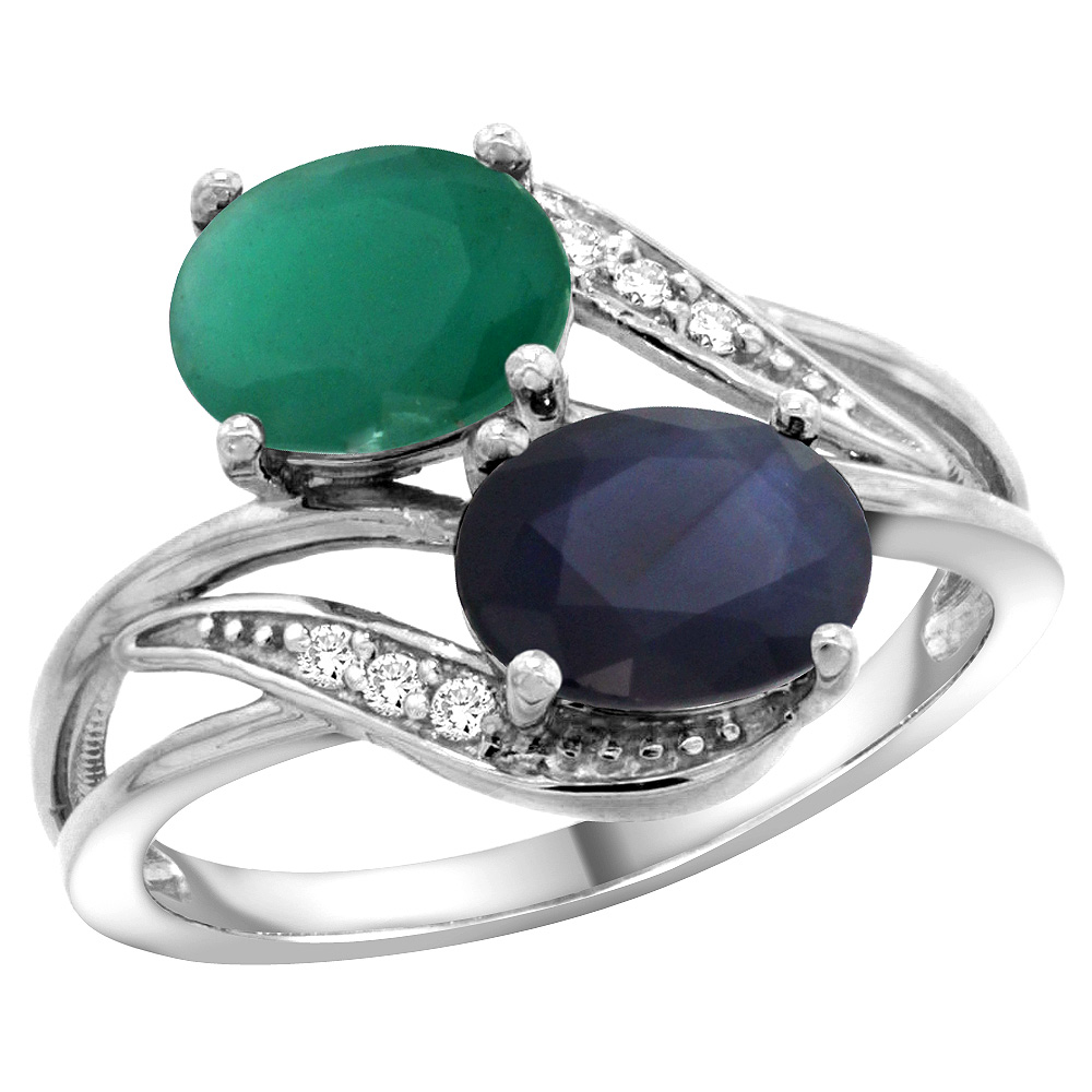 14K White Gold Diamond Natural HQ Emerald & Australian Sapphire 2-stone Ring Oval 8x6mm, size 5 by Gabriella Gold