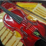 Continental Art Center Red Violin Painting Tile Wall Decor