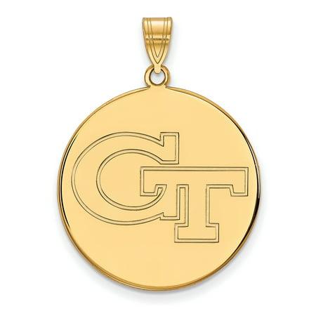 Logoart 10K Yellow Gold Georgia Institute Of Technology Xl Disc Pendant 1Y063gt
