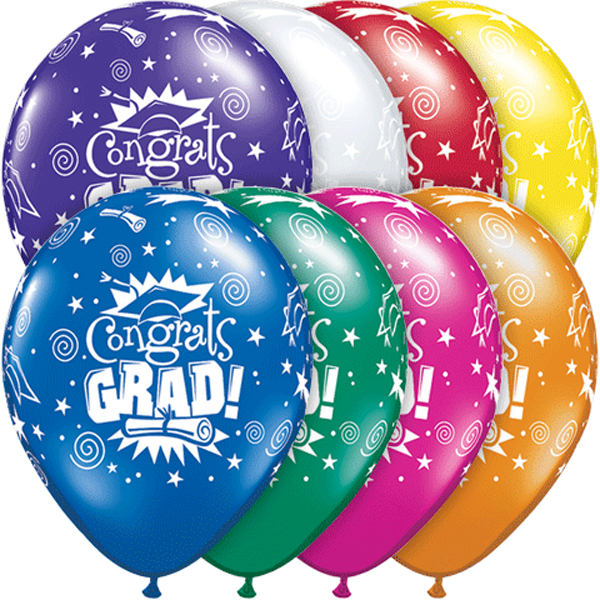 "Qualatex Congrats Grad Cap & Diploma 11"" Latex Balloons, 50 CT"