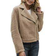 Women's Fleece Long Sleeve Bomber Jacket Wool Zip Outerwear Winter Warm Coat
