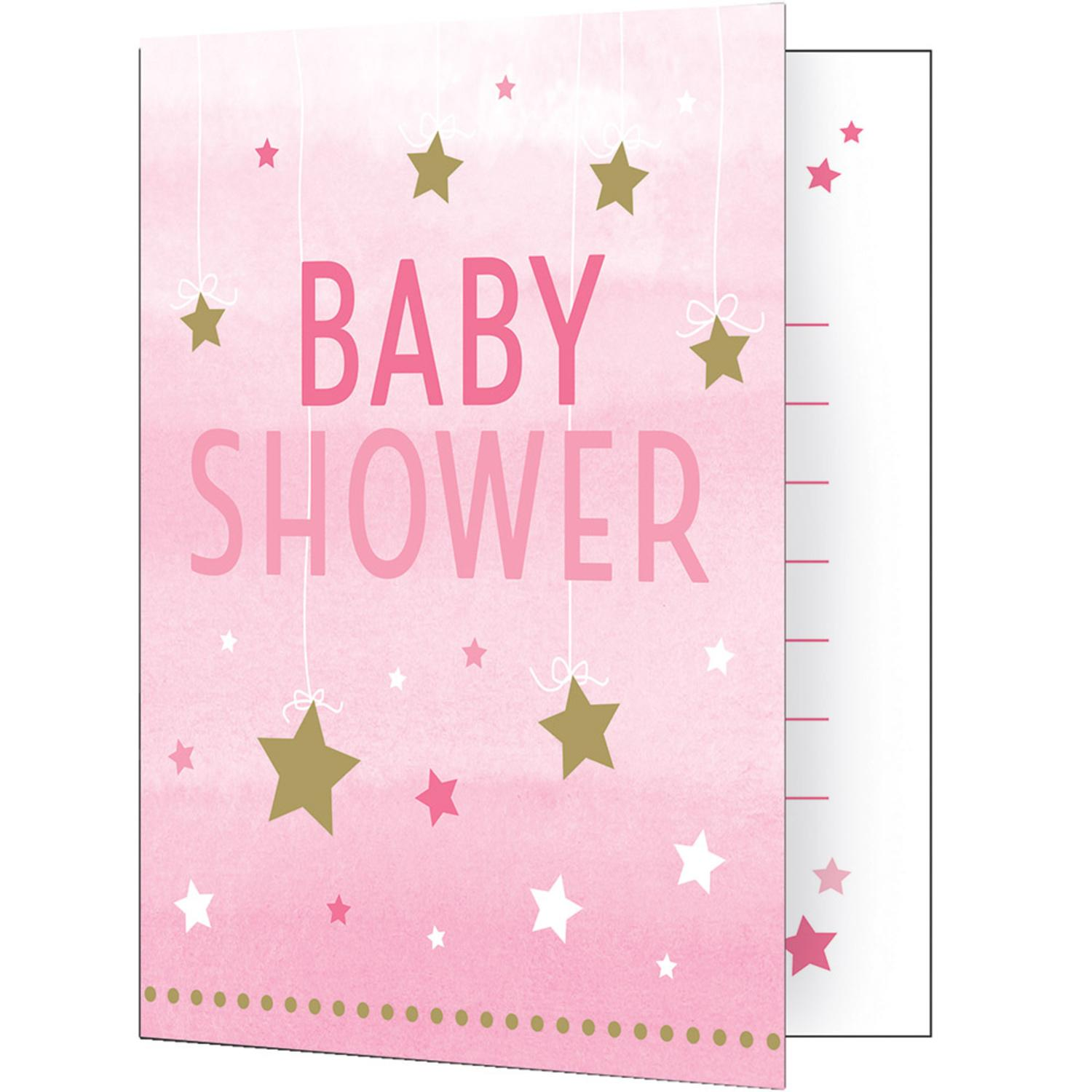 Club Pack of 48 Pink and White Baby Shower Premium Invitation Foldovers 7.5""