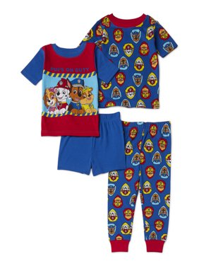 Paw Patrol Toddler Boy Short Sleeve Snug Fit Cotton Pajamas, 4pc Set