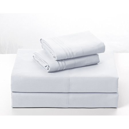 Bed Sheets Set – Hotel Premium Brushed Super Soft Microfiber, Egyptian Quality Collection with Deep Pocket - 4 Pieces Fully Elastic Fitted, Fitted & Flat Sheets, Pillow Case. Full White …
