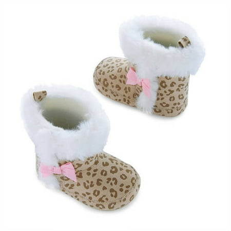 Image of Child of Mine by Carter's Newborn Baby Girls Cheetah Fur Boots, 0-6M