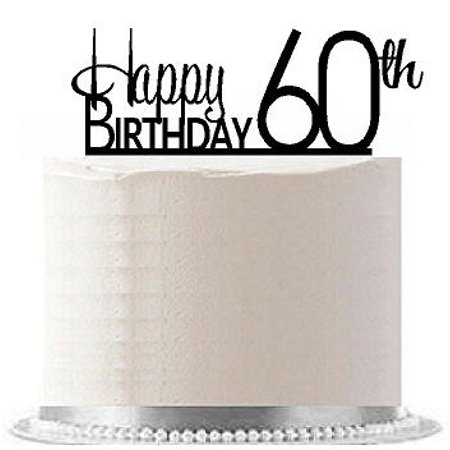 Item#AE-164 Happy 60th Birthday Agemilestone Elegant Cake Topper - Cake Decorations For 60th Birthday